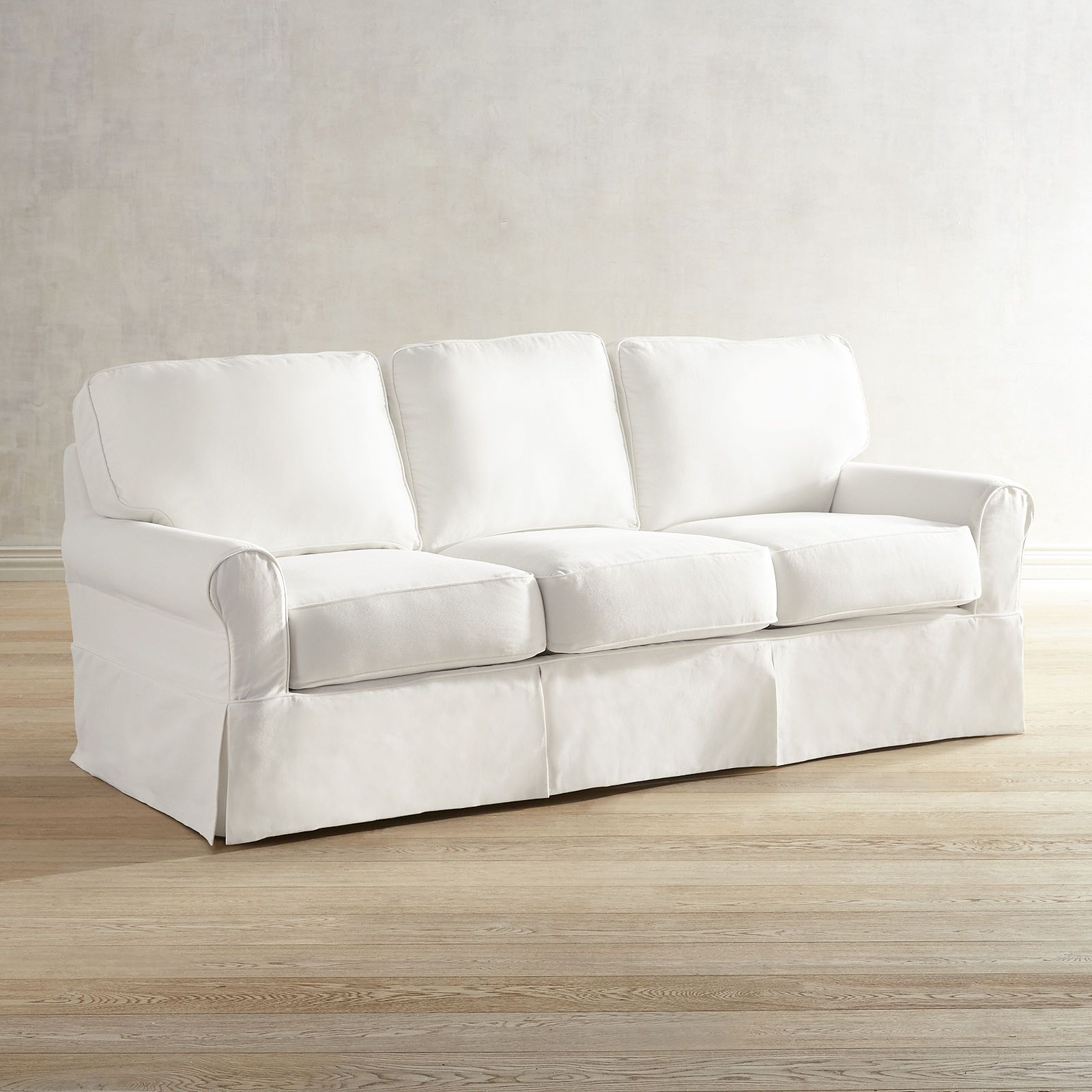 Lia Pierformance White Slipcovered Sofa White Slipcover Couch