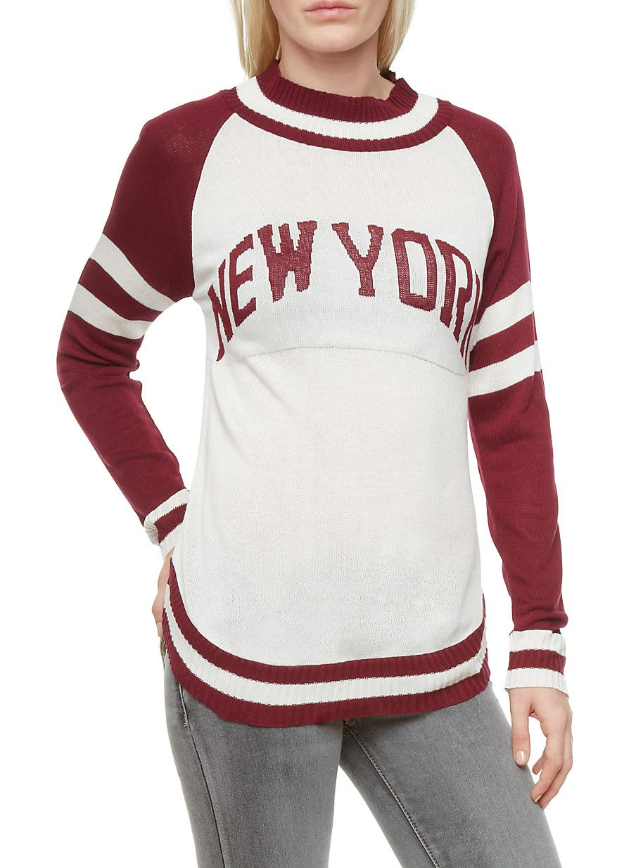 """Rainbow New York Graphic Striped Trim Raglan Sweater 