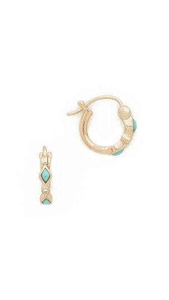 Sydney Evan 14k Small Prong Turquoise Huggie Hoop Earrings zMVl2Y