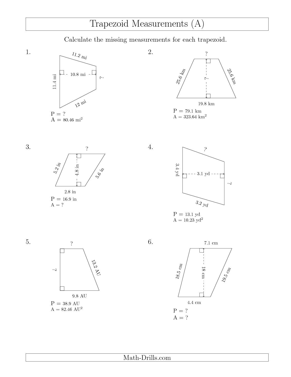 Calculating Various Measurements Of Trapezoids A Measurement Worksheet Multi Step Equations Worksheets Geometry Worksheets Math Worksheets [ 1584 x 1224 Pixel ]
