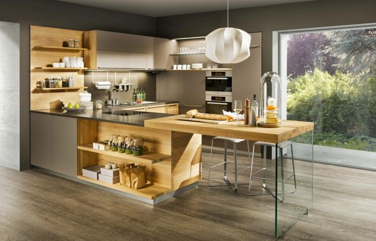 Plan De Travail Cuisine Moderne En Pierre Et Bois Modern Kitchen Design Top Kitchen Trends Kitchen Inspiration Modern