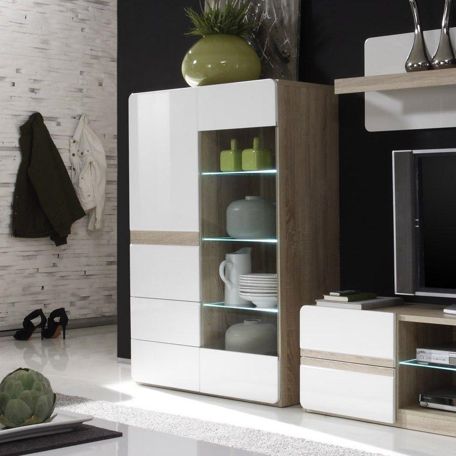 Buffet Haut Vitr Couleur Bois Et Blanc Laqu Avec Led Moderne  # Composition Murale Bois Et Blanc Laque