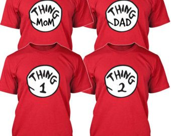 e1ffa424 Thing 1 2 3 T-shirt Cat in the Hat MOM DAD Things Costume Shirts Toddler  Baby Youth Adult sizes S-3XL