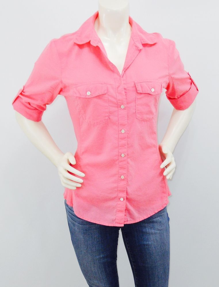 2c3a4c68 Standard James Perse sz 4 Pink Button Down Shirt Ribbed Stretchy side  panels #JamesPerse #ButtonDownShirt #Casual