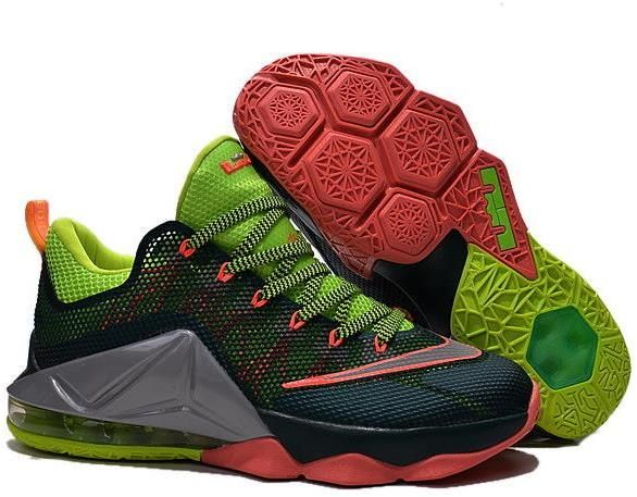 promo code cc0dc 9f469 Nike Lebron 12 Low Green Grey Orange Red