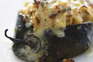 Poblanos stuffed with ceddar and chicken.