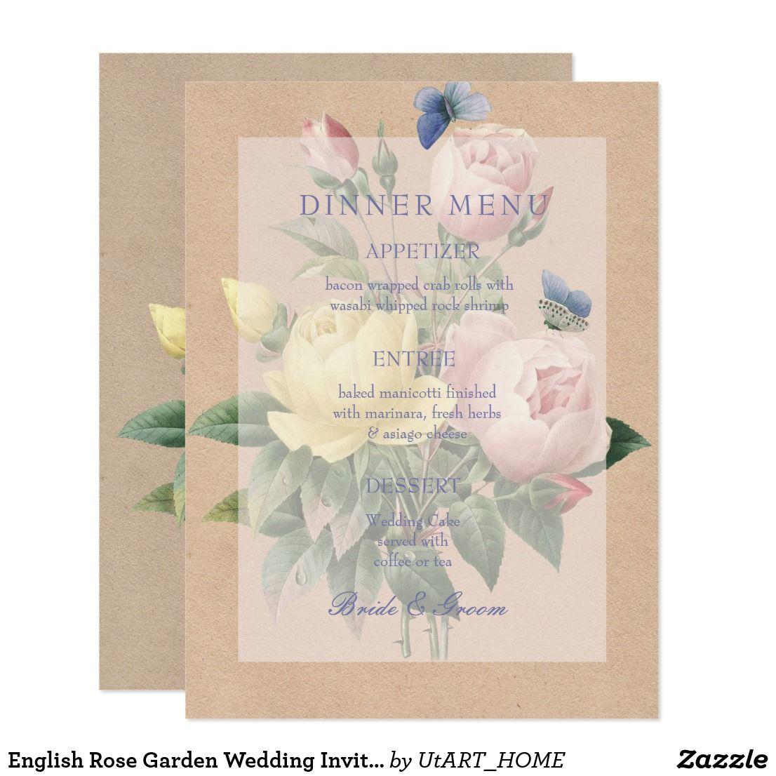 English Rose Garden Wedding Invitation Menu