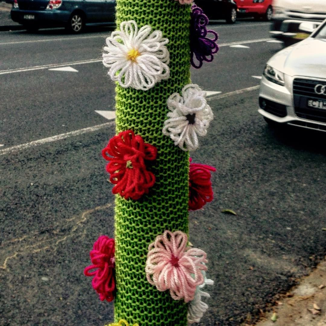 Another great effort from @kitty_knitter thanks to @alisonayers #knitting #yarnbomb #yarnbombing #yarnbombingsydney #urbanart #streetart #surryhills #surryhillsfestival #surryhillsfestival2015 #yarnbombsydney