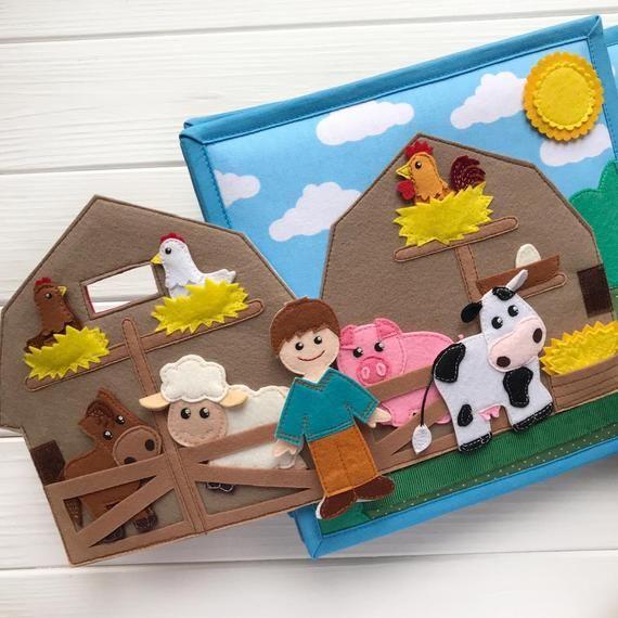 Photo of Ruhige Bücher Bauernhof, ruhige Buch junge, ruhiges Buch für Mädchen, ruhige Bücher Jungen, Filz Tiere, Bauernhof Puppenhaus