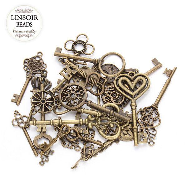 24 יחידות לערבב סגנונות עתיק ברונזה מצופה מפתח קסם תליון בצורת לב מיני בציר כושר Diy חומרי אביזרי שרשרת F Vintage Jewelry Diy Jewelry Making Diy Jewelry Making