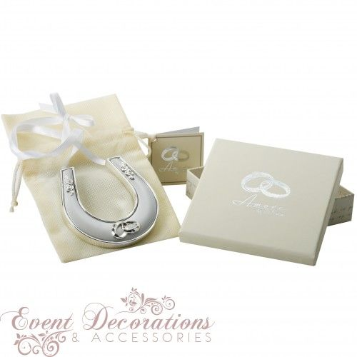 Amore Silverplated Horse Shoe with Icon, Crystal and Ribbon
