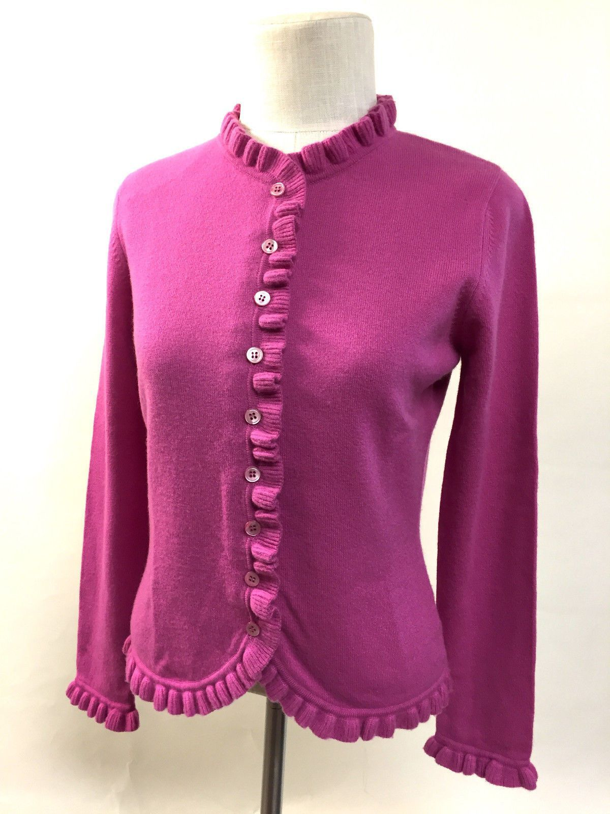 PURE COLLECTION Fuchsia Cashmere Cardigan Sweater with Ruffled ...