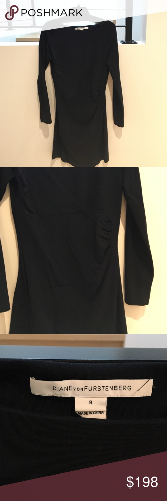 Black, long sleeve DVF ruched jersey sheath dress. Never been worn. Diane von Furstenberg Dresses Long Sleeve