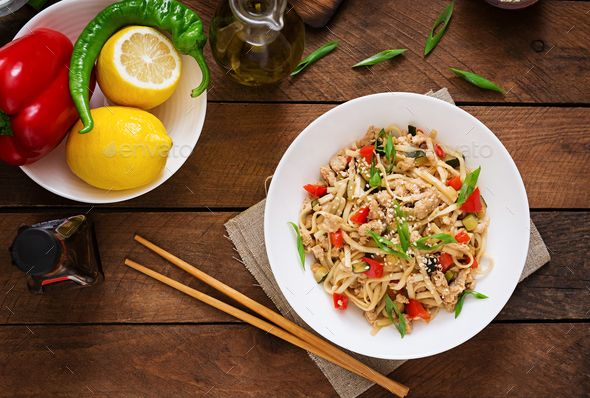 Udon noodles with meat and vegetables in an Asian style. Top view by Timolina. Udon noodles with meat and vegetables in an Asian style. Top view #AD #meat, #vegetables, #Udon, #noodles