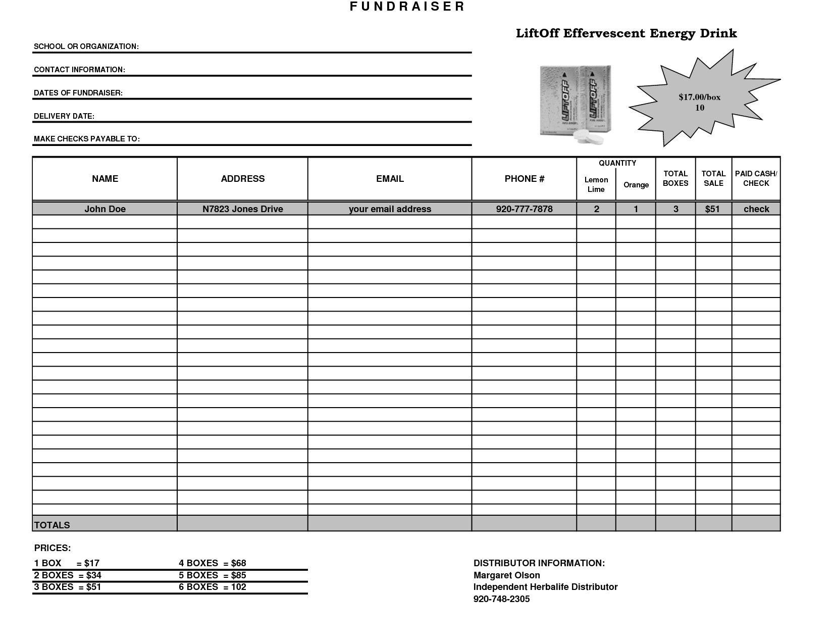 Order form Template Excel Uptodate Fundraiser Template