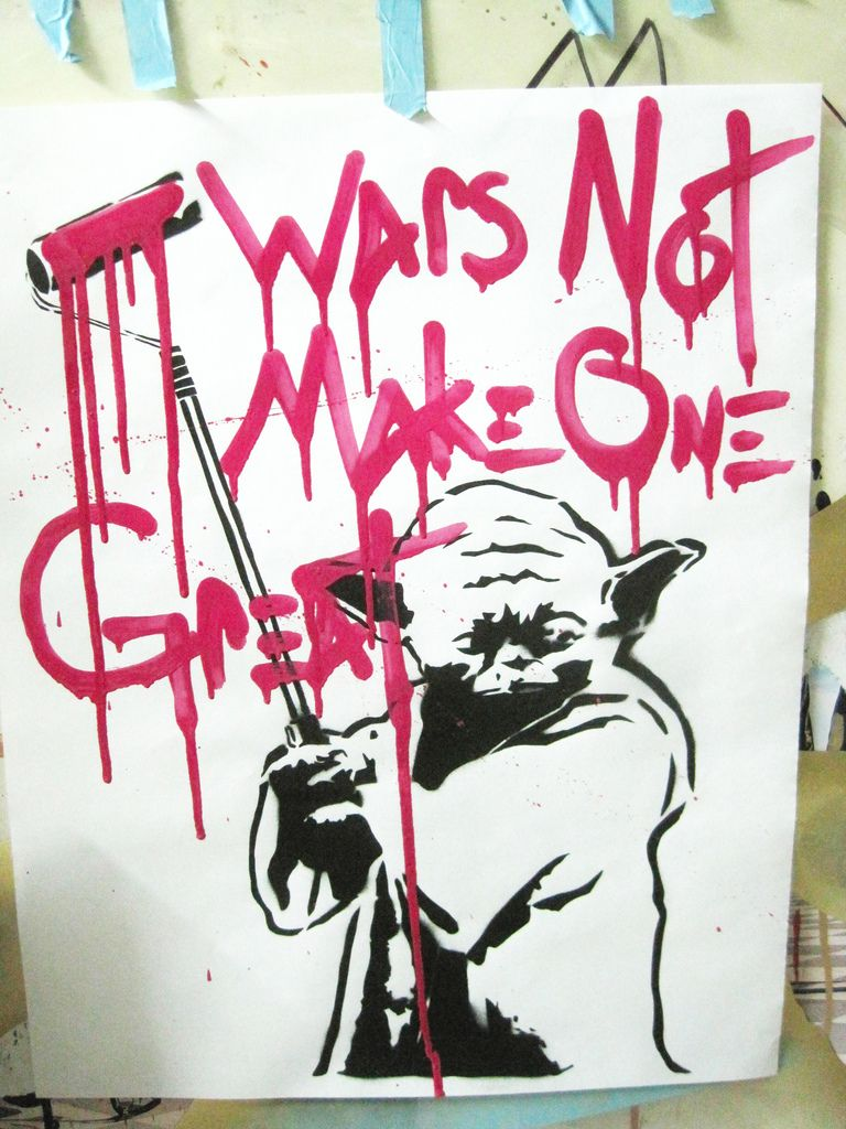 Campaign keep Conscience Art on the Streets  Yoda Painter. Print Stencil and hand written by The Artist Free Humanity.