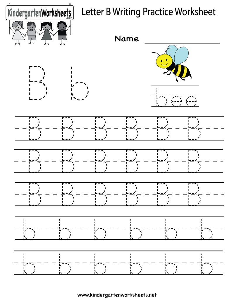 Kindergarten Letter B Writing Practice Worksheet Printable – Alphabet Practice Worksheets for Kindergarten