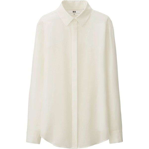 UNIQLO Silk Long Sleeve Blouse (2025 DZD) ❤ liked on Polyvore featuring tops, blouses, shirts, long sleeves, off white, silk shirt, uniqlo shirts, draped blouse, loose fitting shirts and loose blouse