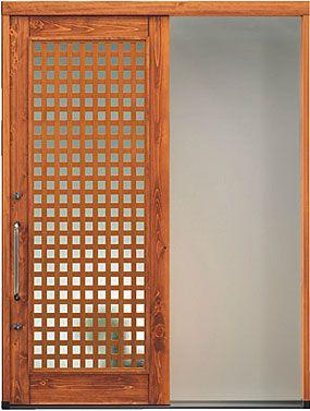格子タイプのおしゃれな木製断熱玄関引き戸 日本製 引戸 玄関
