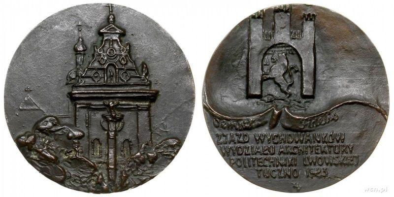 1923 rok   Medal   Zjazd Wychowankow Wydzialu Architektury Politechniki Lwowskiej  Tuczno 1923