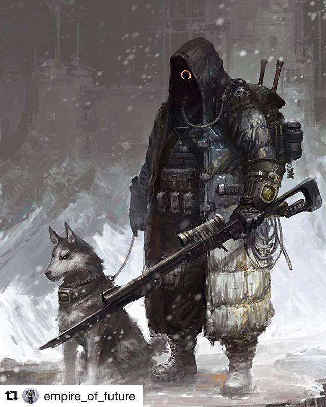 Repost @empire_of_future ・・・ By Su Jian #empireoffuture #fallout #scifi #fallout4 #art #animal #pet #dog #amazing #style #soldier #gun #guns #special #cyberpunk #cyber #warrior #instadaily #inspiring #рисунок #exosuit #style #helmet #man #fight #armor #шлем #броня
