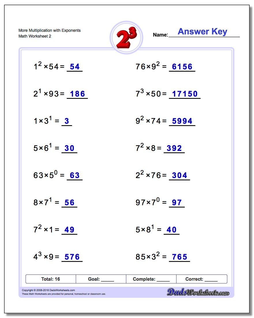 More Multiplication Worksheet With Exponents Www Dadsworksheets Com Worksheets Exponents Scientific Notation Scientific Notation Worksheet Exponent Worksheets [ 1100 x 880 Pixel ]