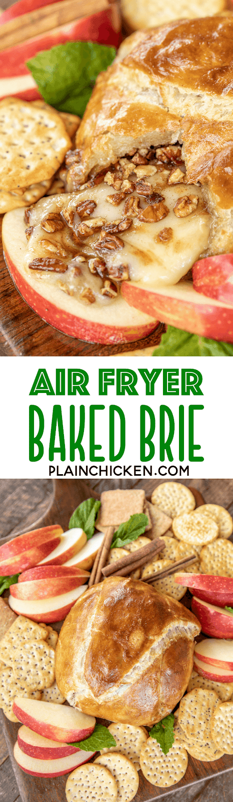 Air Fryer Baked Brie in Puff Pastry loaded with brown