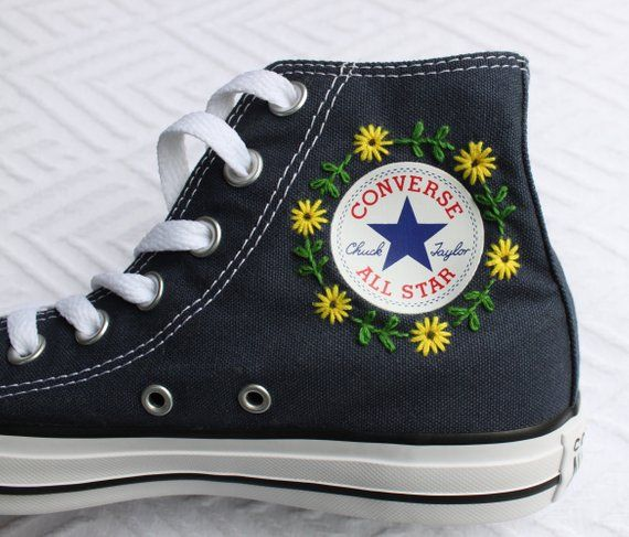 Floral Logo Embroidered Converse -   13 DIY Clothes Shoes outfit