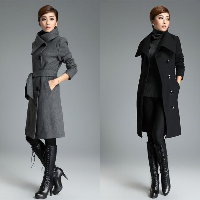 High Quality Ladies Long Grey Coat Fashion Korean Trench Coats ...