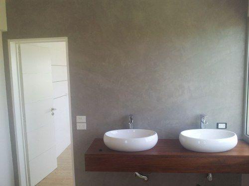 Microcemento microcret pisos y paredes con cemento alisado for Pared de bano de concreto encerado