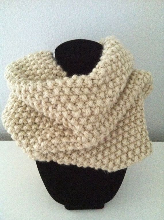 Hand Knitted Infinity Scarf Cowl In Popcorn Stitch Knitting