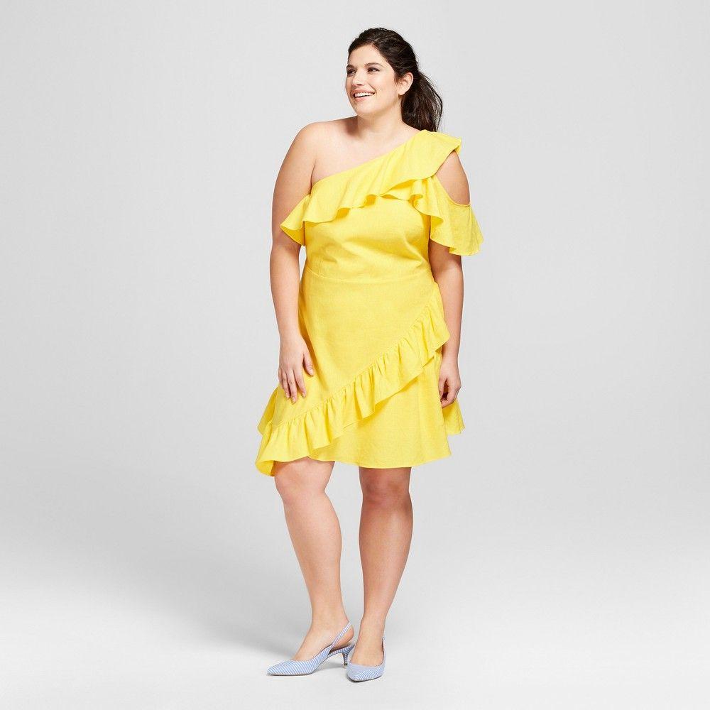 Yellow dress for women  Womenus Plus Size Mini One Shoulder Ruffle Dress  A New Day Yellow