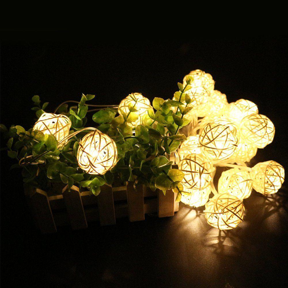 Decorative Light Balls Amazon Battery Powered Rattan Ball Led Decorative String