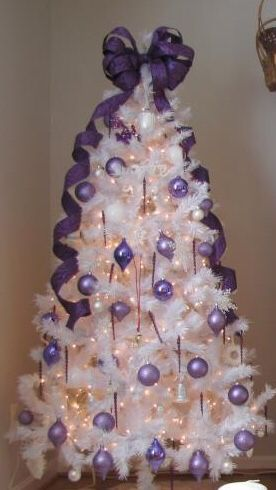 white christmas tree with purple ornaments - Images Of White Christmas Trees Decorated