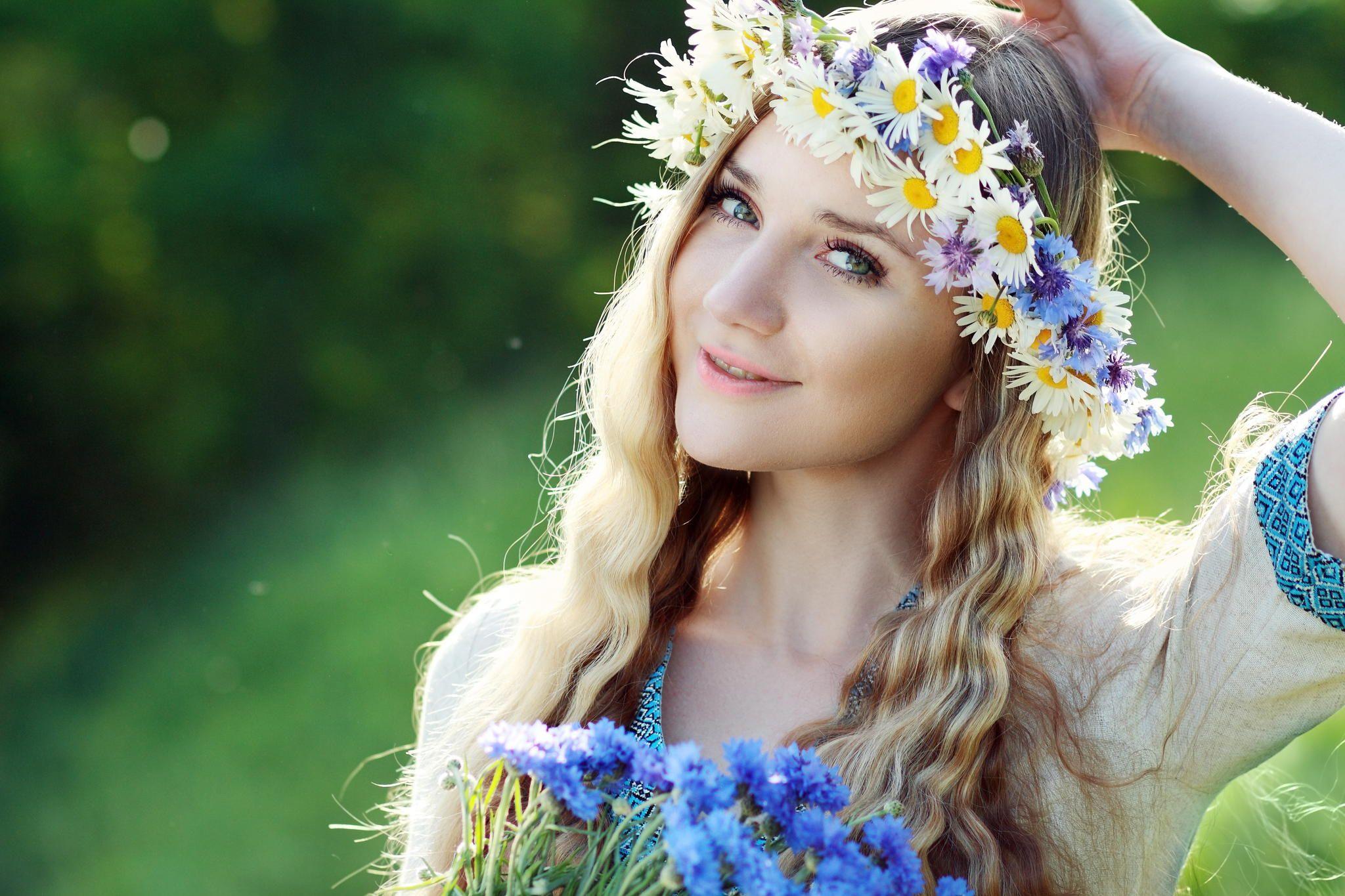 Beautiful ukrainian woman with flower wreath in fresh summer morning beautiful ukrainian woman with flower wreath in fresh summer morning izmirmasajfo