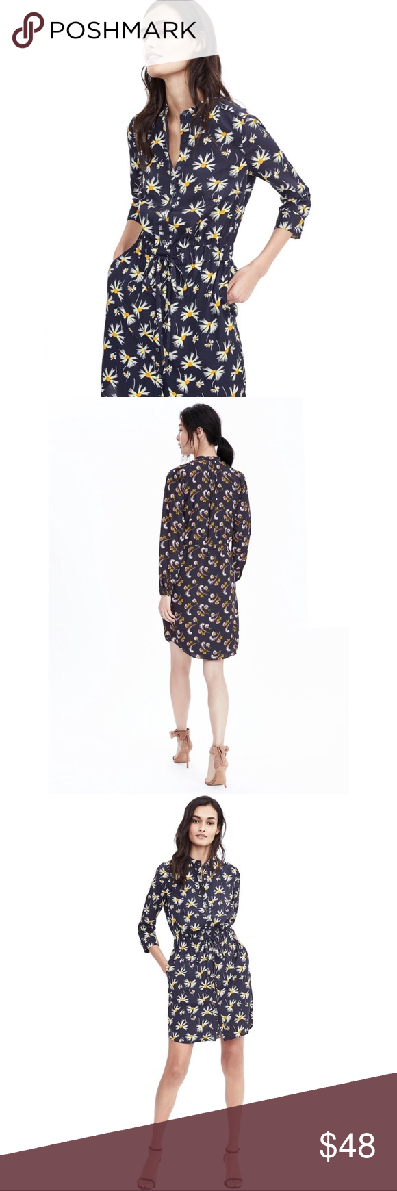 Banana Republic Navy Floral Print Shirt Dress Floral