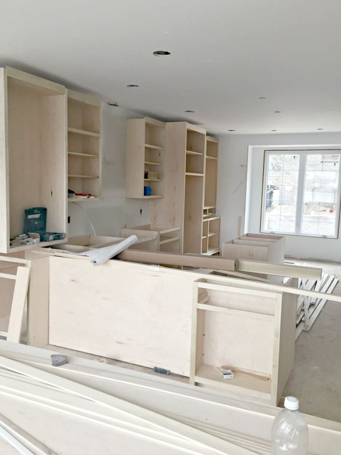 Custom Kitchen Cabinets Are Being Built In This Lake Home Clic Cottage Style With Inset Cabinet Doors And Gl Cabinetry