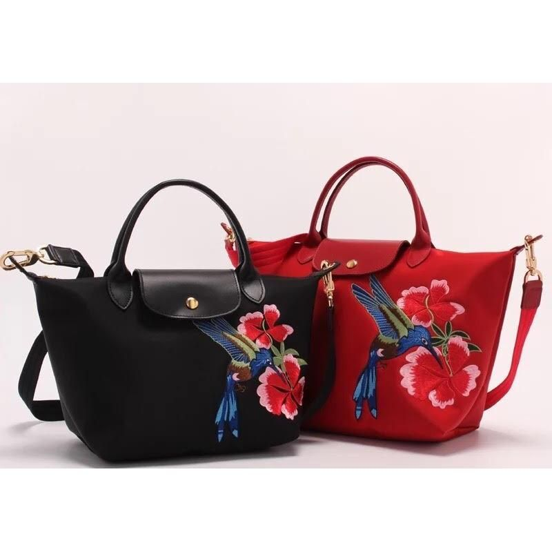 0cf10d9b71d9 Longchamp Le Pliage Embroidered Flower   Bird Nylon Tote Sling Handbag  (small   medium) (Many Color)
