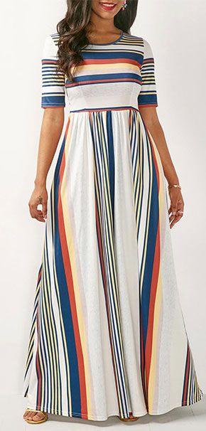 1e878be4e021f6 White High Waist Stripe Print Maxi Dress