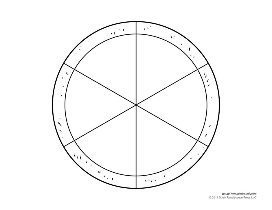 blank pizza template printable craft for kids fractions