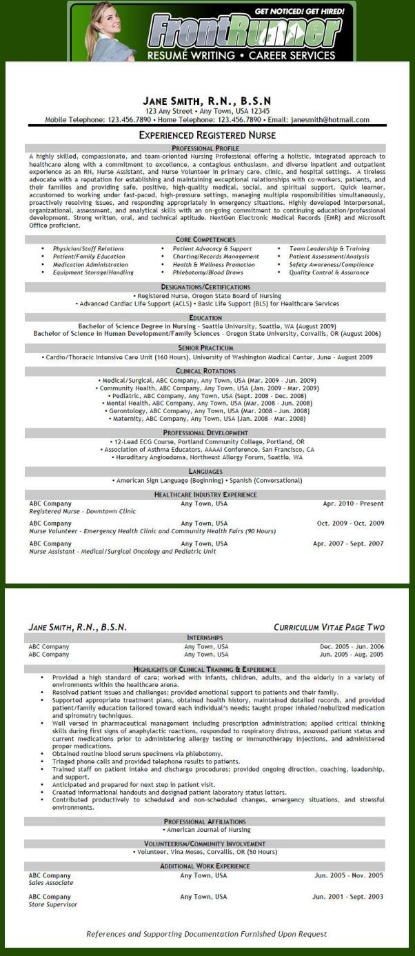 Resumé Sample (Nursing - RN) | Good Nursing Stuff | Pinterest ...