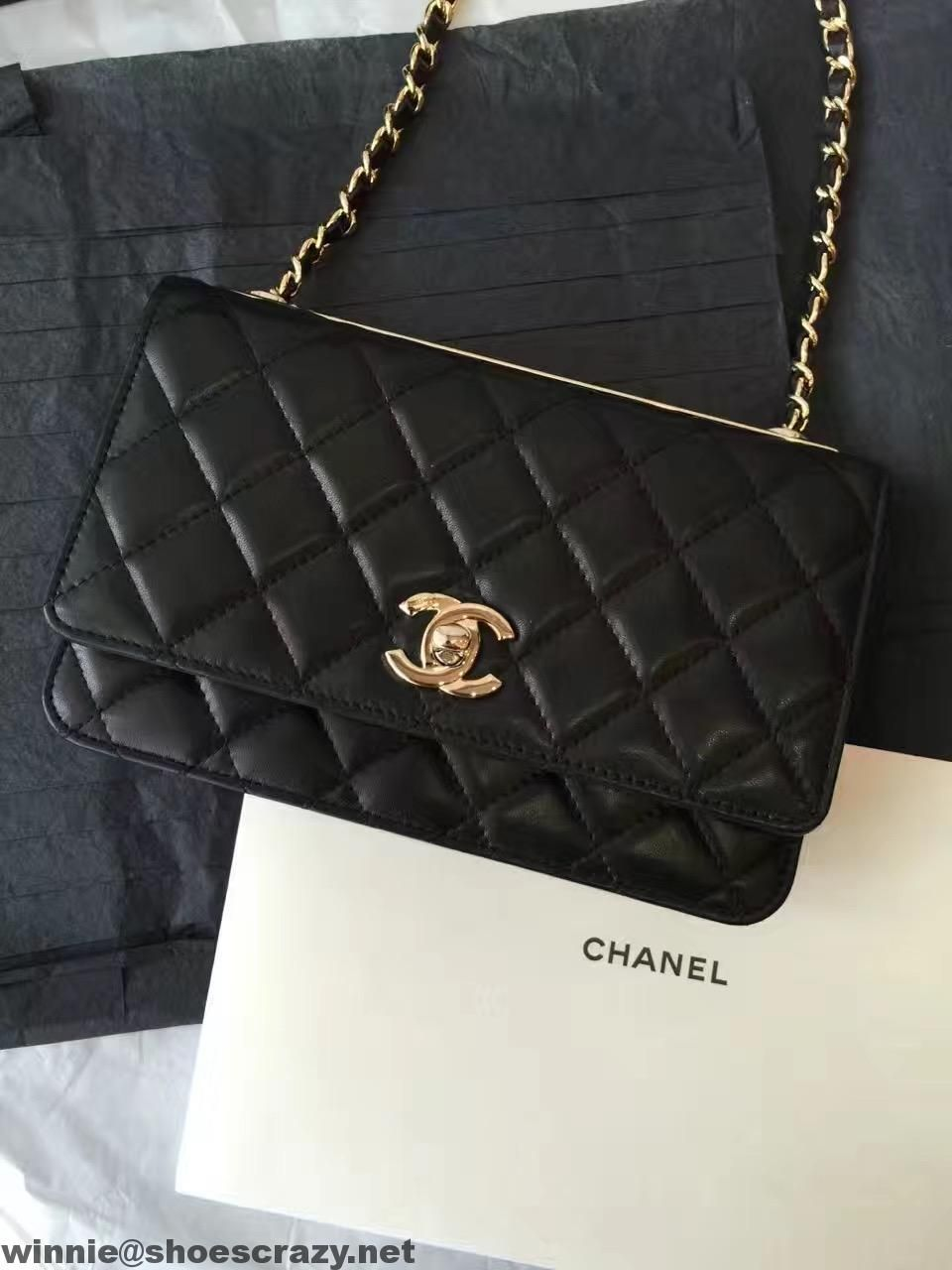 906b6030a04c6d Chanel Lambskin Wallet On Chain With Gold Metal A80982 | My closet ...