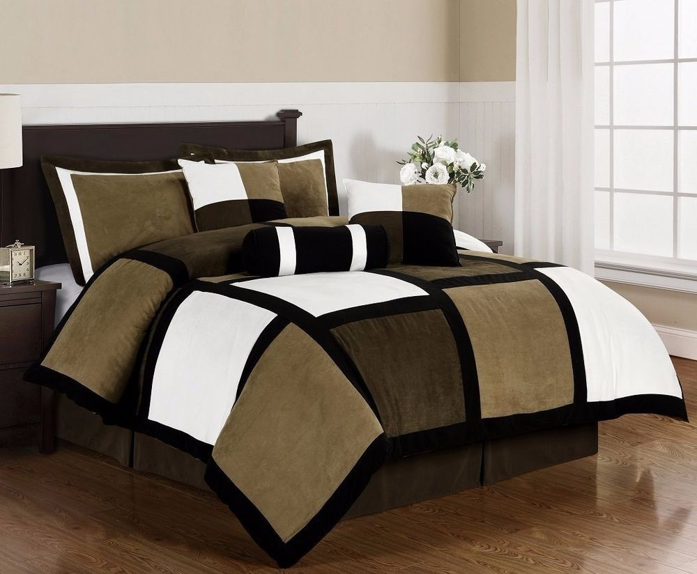 Micro Suede Black Brown White Patchwork 7 Piece Duvet Cover Set Queen
