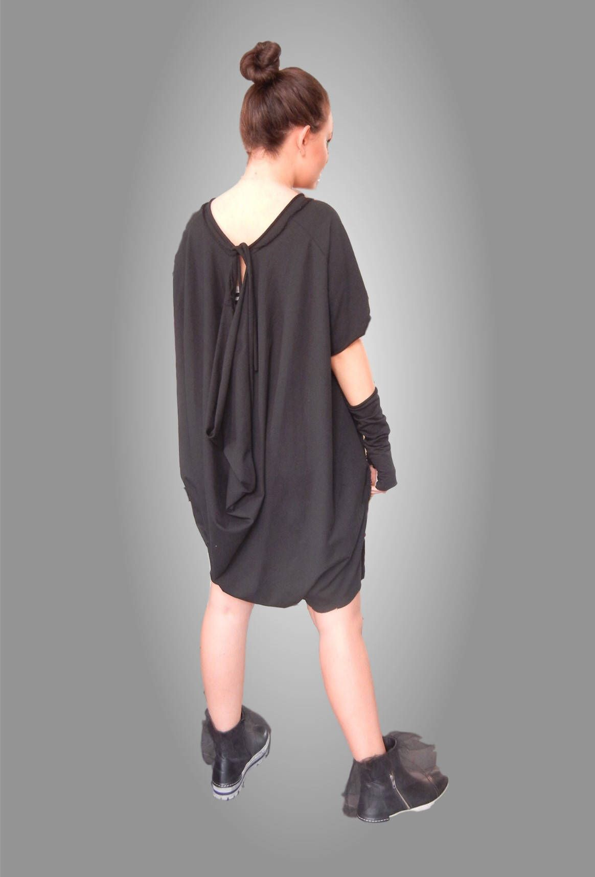 a3649bfe736c Flattering Loose Overall   Asymmetric Oversized Black Jumpsuit   Teenager  Overall   Bare Back Plus Size Jumpsuit   Aged Effect
