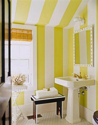 Going Bold in Small Spaces | Bath, Striped walls and Small rooms