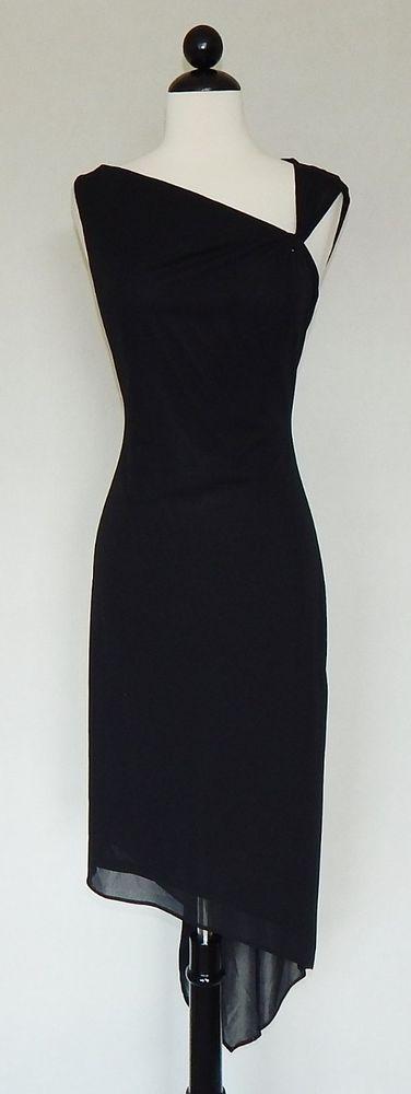 DAVID MEISTER Black Stretch Matte Jersey Twist Strap Asymmetrical Dress  Size 6 #DavidMeister #AsymmetricalHem #LittleBlackDress