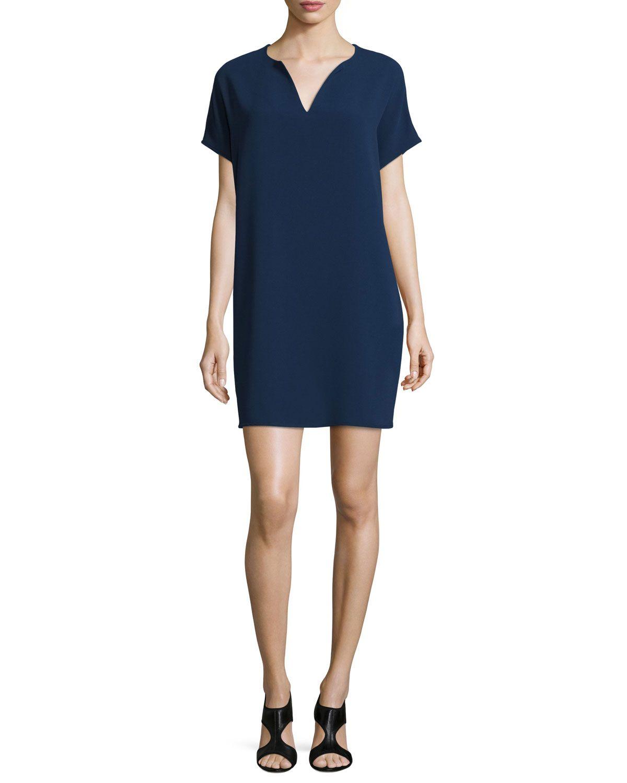 Diane von Furstenberg Kora Short-Sleeve Shift Dress, Midnight, Women's, Size: MEDIUM