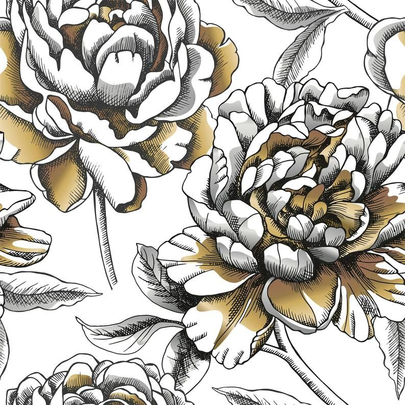 Removable Peel And Stick Wallpaper Gold White And Black Flower Floral Rose Chrysanthemum Wallpaper In 2021 Peel And Stick Wallpaper Wallpaper Sketch Painting