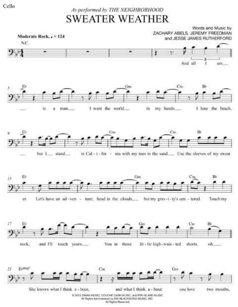 Sweater Weather Cello Sheet Music Sheet Music