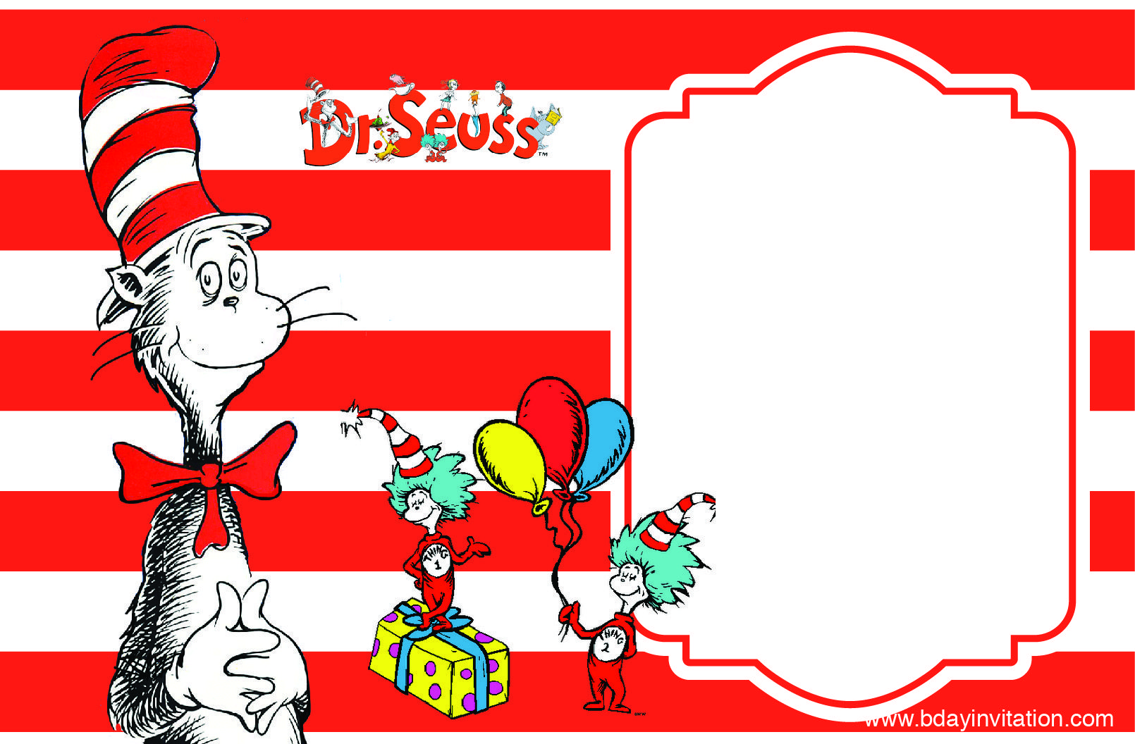 Nice Free Printable Dr Seuss Birthday Invitation Template